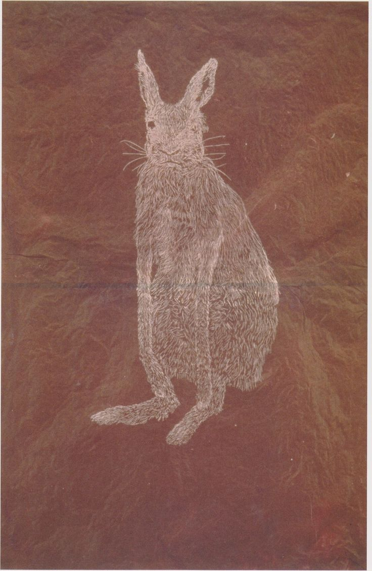Kiki Smith, Bunny (1997) would be fun to draw texture animals with white on brown paper bags-h