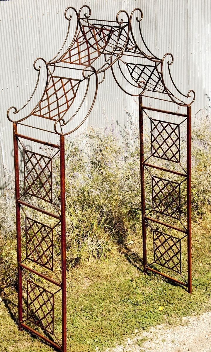 Home gt cedar adirondack wisconsin chairs with personalized laser - Wrought Iron Garden Curl Drape Arbor Metal Arch Made Well To Last In Home Garden Yard Garden Outdoor Living Garden Structures Fencing