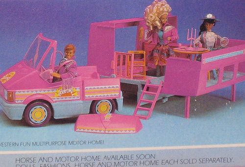 Loved this Barbie camper. You could park it then take the car out for a spin too. My dad bought this from my before he went off to the Gulf War.