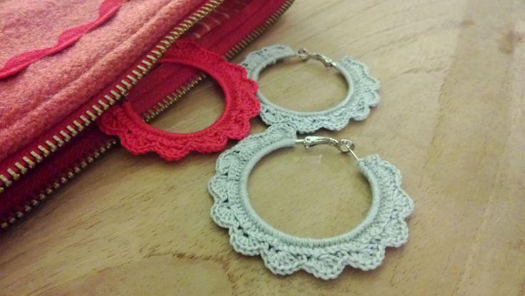 """Crocheted earrings from """"Virkkuri"""" by Molla Mills"""