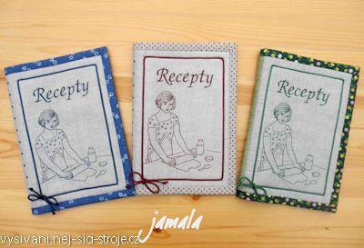Redwork - obal na knihu receptů