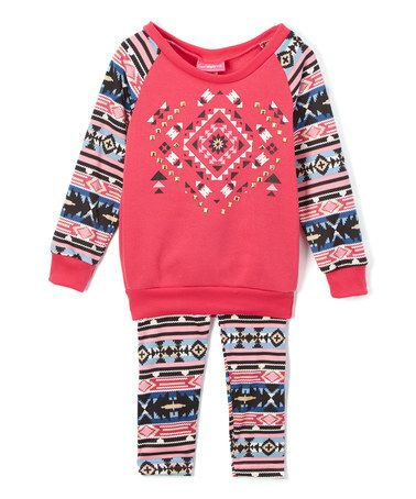 Another great find on #zulily! Fuchsia Fair Isle Sweater & Leggings - Infant, Toddler & Girls #zulilyfinds