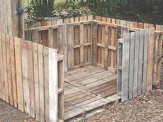 Repurposing pallets to make a garden shed or green house.
