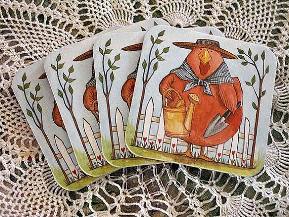 Cork Coaster Set of 4 Gardening Rooster Chickens Home by mrnglry, $5.50: Favorite Galleries, Gardens Roosters, Cork Coasters, Coasters Sets, Art Jewelry, Coaster Set, Etsy Group, Boards Handmade, Corks Coasters