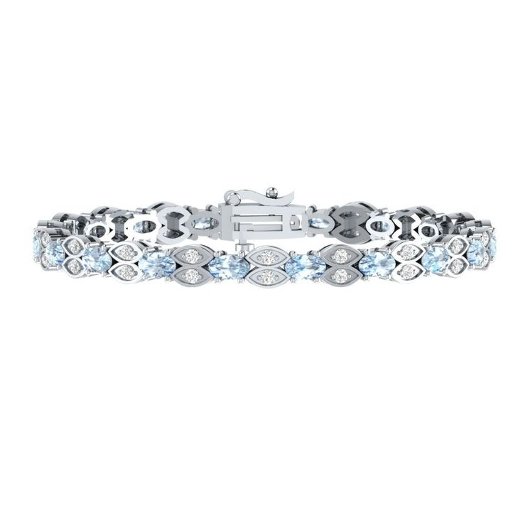 "7"" Tennis Bracelet Jewelry 4.60 Ct Oval Cut Aquamarine W/ Sapphire 925 Sterling #braceletrealgold #Tennis"