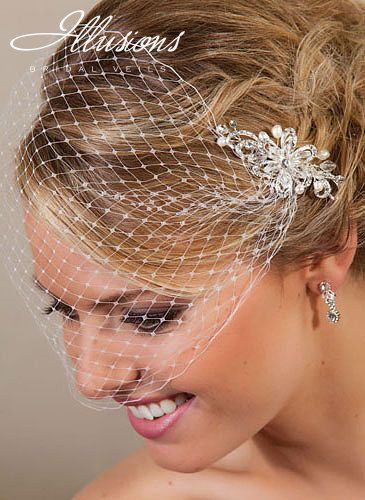 Birdcage Veil with Pearl & Rhinestone Comb available from Puttin' On The Glitz