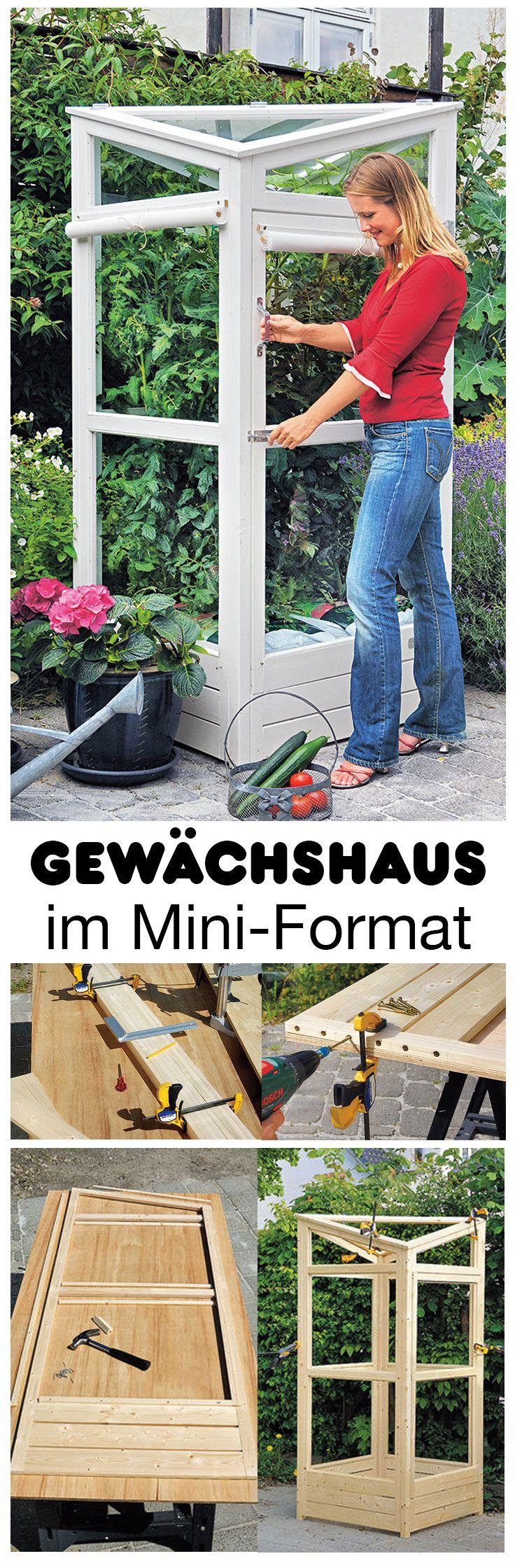 Wer im Garten nicht mehr viel Platz hat, muss trotzdem nicht auf ein Gewächshaus verzichten. Wir haben ein Modell im Mini-Format selbst gebaut und zeigen dir, wie es geht. Umfallen kann es nicht, denn es ist mit Winkeln am Boden festgeschraubt!
