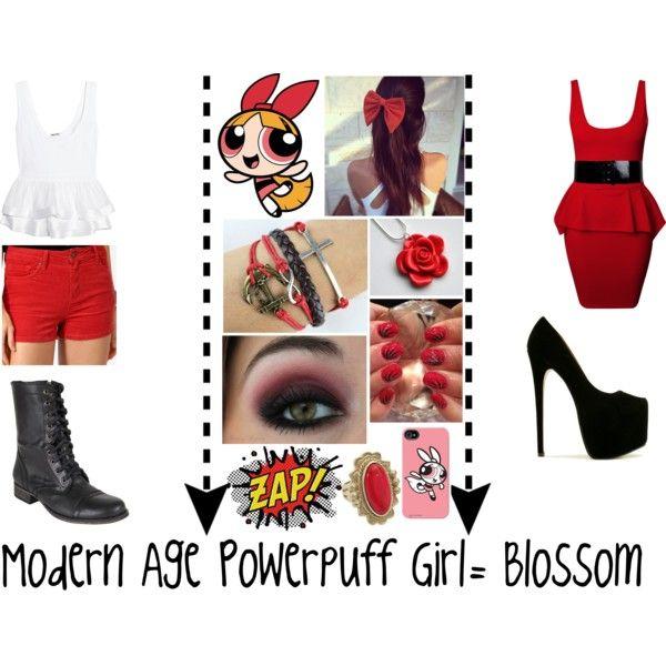 Modern Age Powerpuff Girl - Blossom  Cosplay, Halloween -1121