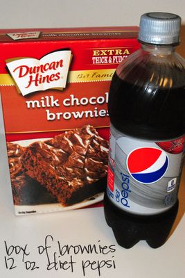 Skinny Brownies Ingredients  1 Package Duncan Hines Traditional Brownie Mix, 1 12oz Can of Diet Coke   Directions: Simply mix brownie mix and Diet Coke (or Diet Pepsi)with beater or wisk until well blended. Pour into 8x8 or 9x9 pan and bake according to directions on box or until toothpick comes out clean. Makes 'cake'-type brownies that are oh so yummy!