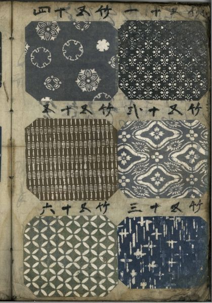 Catalogue of Japanese textile KOMON. Appears to be 19th century, Japan. Katazome stencling.