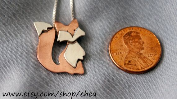 Little Red and Silver Fox or Little Golden and Silver Fox by EHCA, $35.00 I WANT THIS. It would match my fox earrings!!