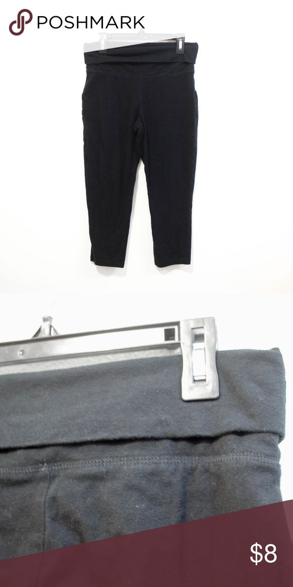 black cropped fold over yoga pants capri size xs extra small // Mossimo supply co from target, black color basics capri cropped yoga work out leggings with fold top. Mossimo Supply Co. Pants Leggings