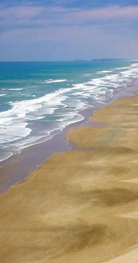 It's actually only 60 miles long, but Northland's Ninety Mile Beach is still dazzling, North Island, New Zealand