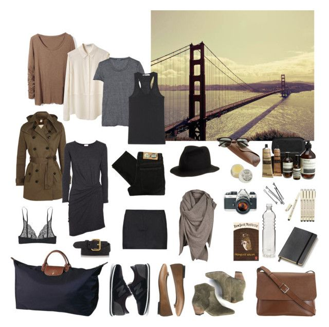 Packing for San Francisco by coffeestainedcashmere on Polyvore featuring Clu, T By Alexander Wang, Petit Bateau, Mulberry, Cheap Monday, Joseph, Calvin Klein Underwear, New Balance, Repetto and Longchamp
