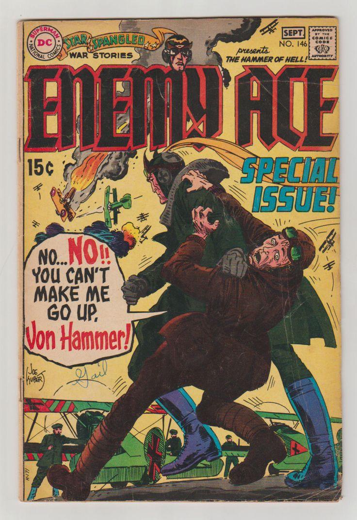 enemy Ace 146  Joe Kubert Cover, con el arte interior Russ Heath y Ross Andru.