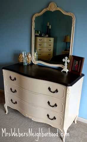 painting furniture. Love the light furniture with the dark top. Might do this with my husband's chest.