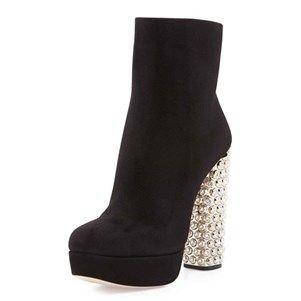 #NancyJayjii 2015 #Mode Reine-look plate-forme féminine #pompes en daim noir #classique Talons Hauts #Chaussures Noir - Achat / Vente bottine - Cdiscount