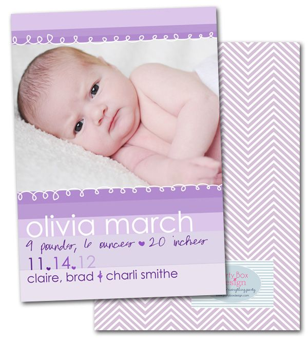 baby announcements, purple, ombre, chevron, modern baby, girl birth announcements via Party Box Design