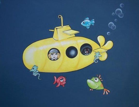 Yellow submarine. On canvas $80 Aus