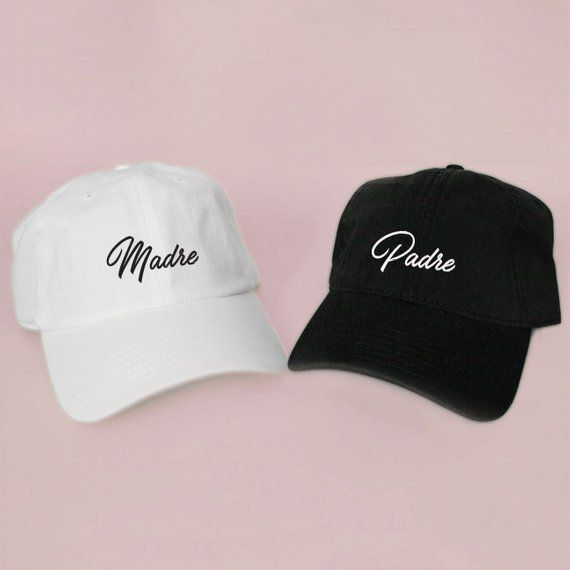 92965d4f5a7 Madre Padre Hat Mom Dad Baseball Hat Dad Hat White Pink Black Embroidered  Unisex Adjustable Back Baseball Cap Wedding Gift Idea Mama Papa
