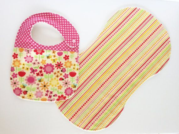 Baby Bib and Contoured Burp Cloth Set Lady by SewCutiePieBoutique