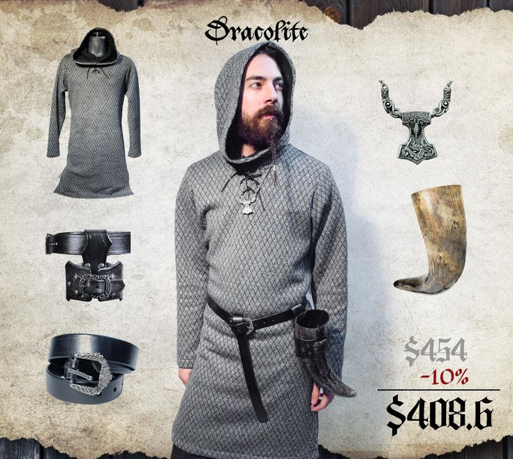 Complete Viking set with accessories with tunic medieval clothing for men LARP costume and cosplay