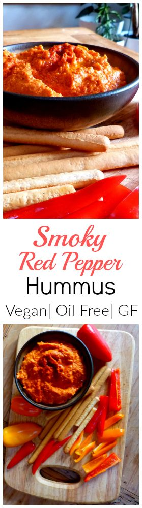 A super tasty vegan dip. Smoky Red Pepper Hummus is easy, spreadable, gluten free and can be made oil free.  Use it on sandwiches, with crudites, or as part of a lunch buffet, or pile onto crackers & add a garnish for hors devours at a party. It's 100% yum, promise!