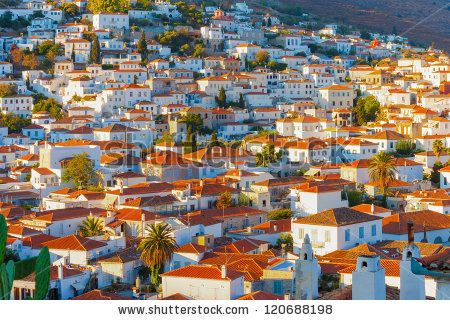Rooftops At Hydra Island In Greece
