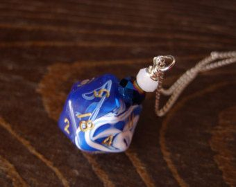 D20 dice dungeons and dragons pendant dice pendant by MageStudio