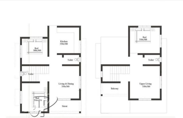 Cost Effective 3 Bedroom Small Plot Home Design With Home Plan Free Kerala Home Plans House Plans 2bhk House Plan Kerala House Design