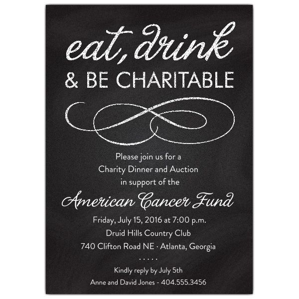 chalkboard black charity invitations