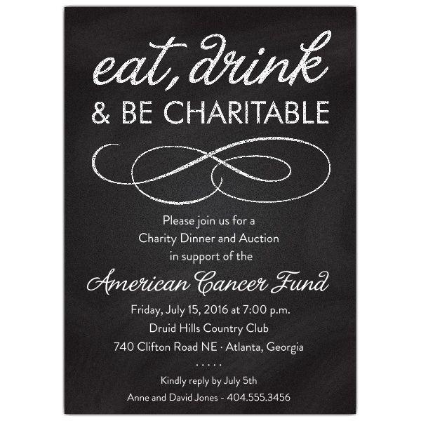 Chalkboard Black Charity Invitations  Winter  Dinner invitations Gala invitation Rehearsal