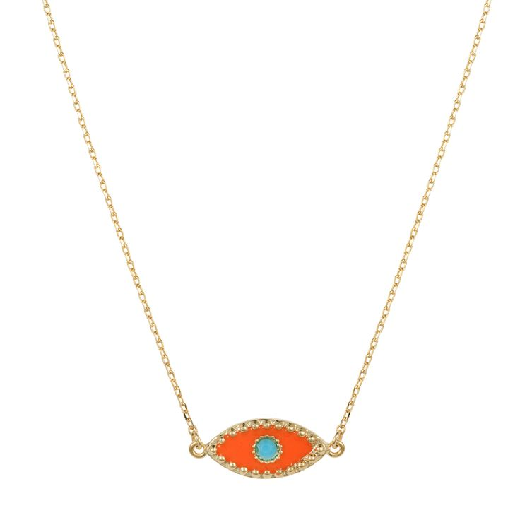 Eye necklace | $69. Fine chain necklace crafted in 9ct gold plating, with delicate evil eye pendant motif in orange enamel and tiny turquoise coloured pupil. Shop now: http://www.savethelastpinker.com.au/shop/eye-necklace/