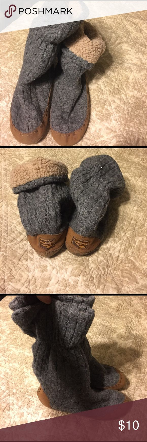 Rocket Dog house boots Furry inside and sweater look outside. Top can be rolled down to show fur. Great condition. Rocket Dog Shoes