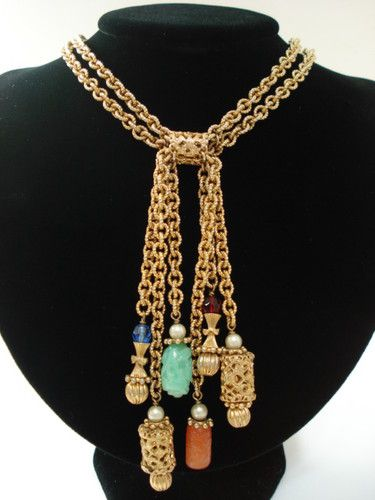 VINTAGE NAPIER LARIAT TASSEL NECKLACE FILIGREE ASIAN DANGLES