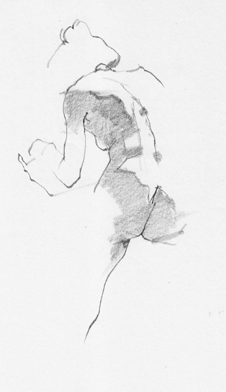 Aaron Coberly minimalist quick sketch of standing discreet nude female posterior behind back anatomy. aaroncoberly.com