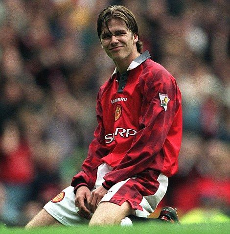 Early days: But Beckham made an instant impact at Manchester United under Sir Alex Ferguson