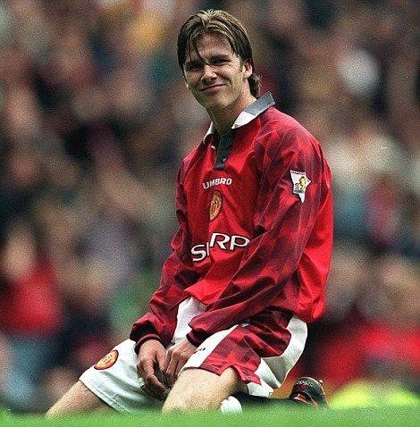 Early days: But Beckham made an instant impact at Manchester United under Sir Alex Ferguson