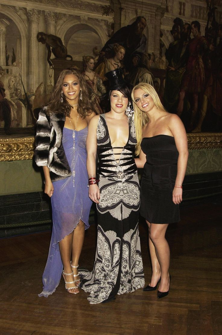 """Beyoncé, P!nk, and Britney Spears at the """"Pepsi Gladiator"""" premiere in London. (January 26, 2004)"""