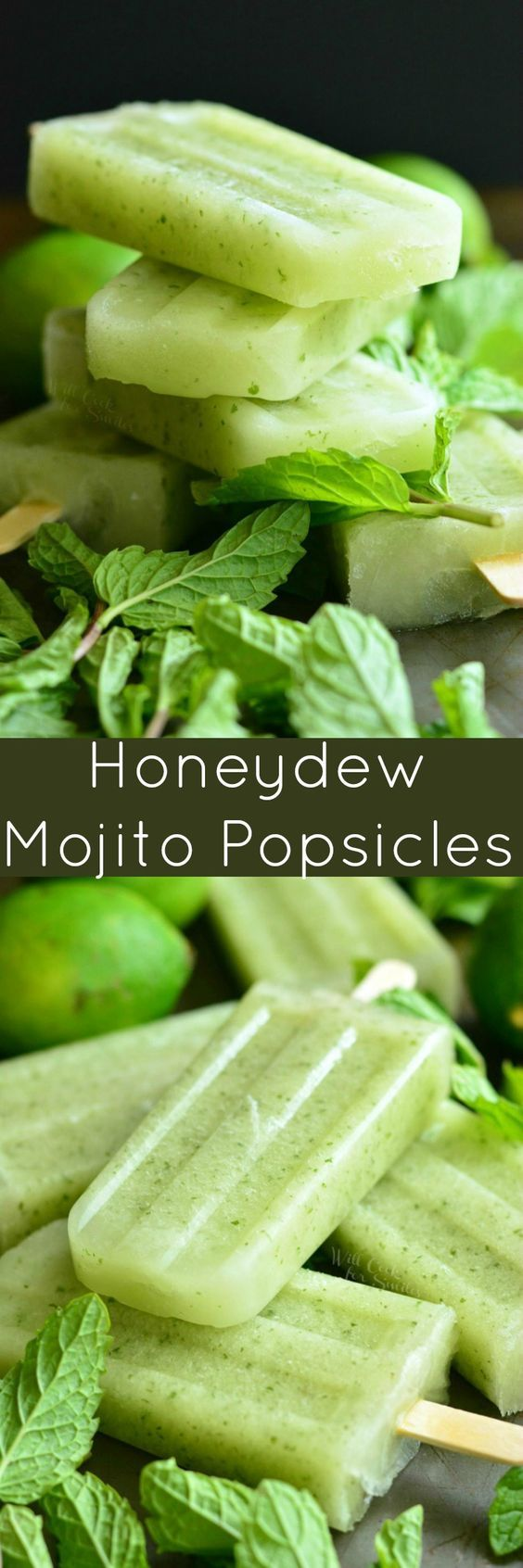 Honeydew Mojito Popsicles ~ these delicious and refreshing mojito popsicles are made with sweet, juicy honeydew melon, fresh lime juice, and mint...and you can easily turn them into boozy pops with rum!