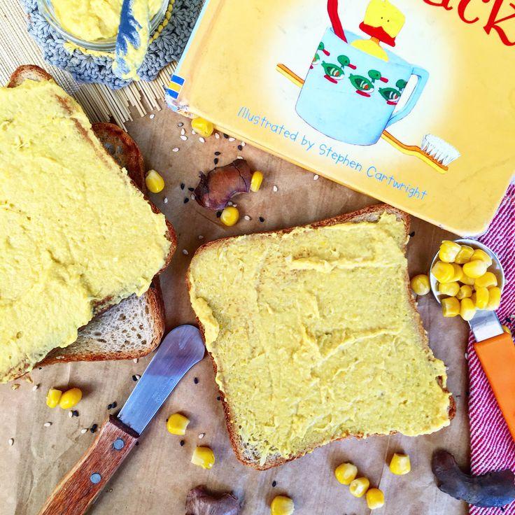 Humus de maíz dulce (se puede quitar el ajo asado y añadir pipas de calabaza)