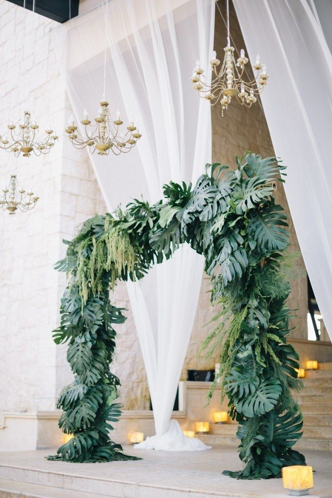 Tropical Leaves Wedding Ceremony Arch