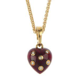 LOT:239 | FABERGE - an 18ct gold diamond enamel heart-shape pendant.