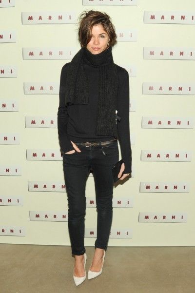 Emily Weiss All black with white shoes - love this look