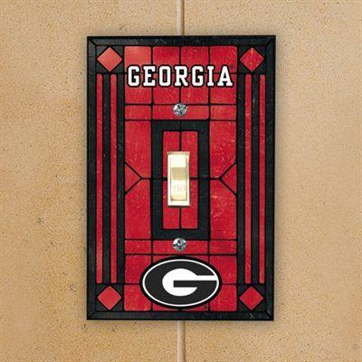 Georgia Bulldogs Red Art-Glass Switch Plate Cover