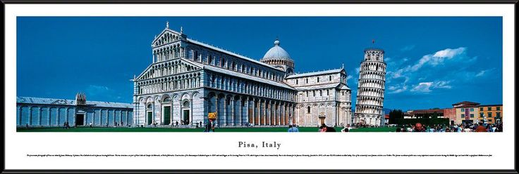 Pisa Skyline Panoramic Picture Framed, Italy