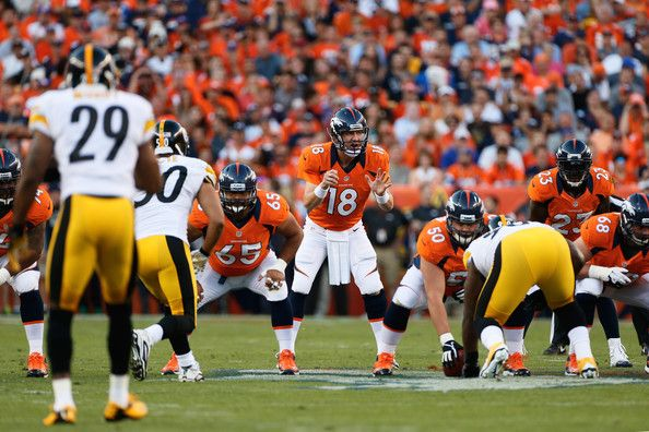 Quarterback Peyton Manning #18 of the Denver Broncos calls the play at the line during the game against the Pittsburgh Steelers during the NFL season opener at Sports Authority Field at Mile High on September 9, 2012 in Denver, Colorado.