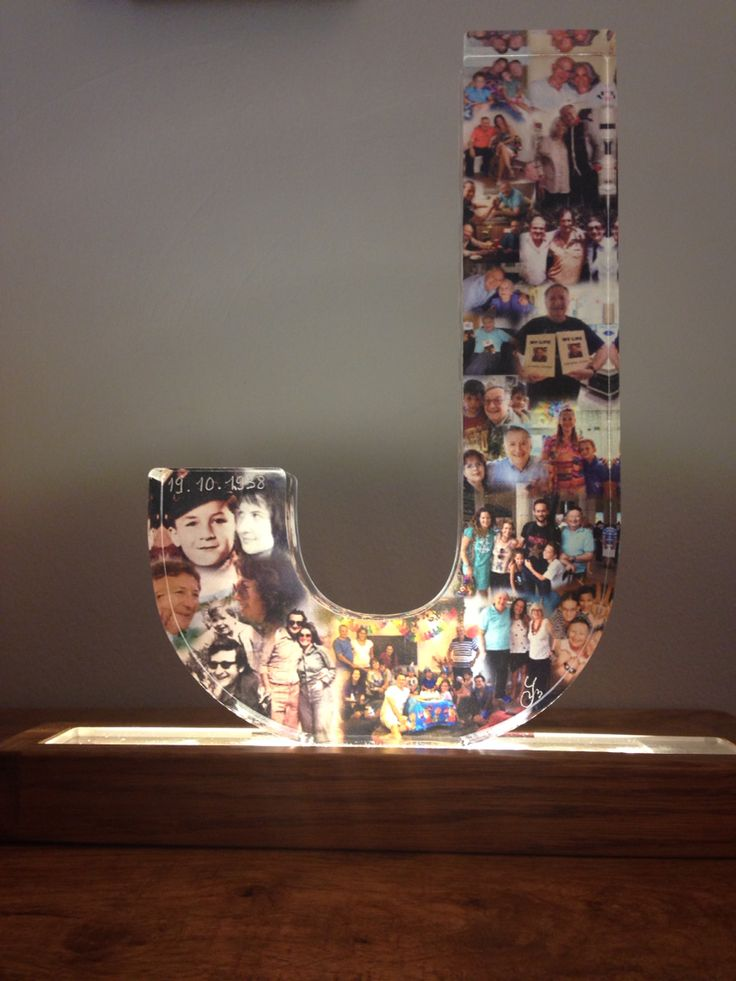 Johnny's J: A collage of your life printed on a 20mm plexiglass letter. Idea & design by yaelman Art @ www.yaelman.co.il