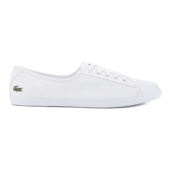Lacoste Women's Ziane Bl 2 Canvas Plimsols ($68) ❤ liked on Polyvore featuring shoes, sneakers, white, white lace up sneakers, white trainers, lace up sneakers, white sneakers and flat shoes