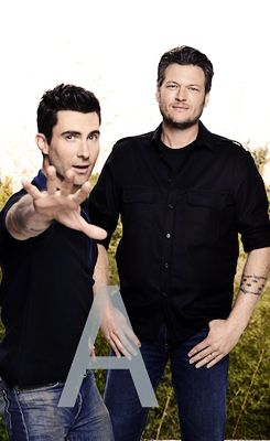 Adam Levine and Blake Shelton. Just like us: a little bit country and a little bit rock and roll:) (I'm pretending Adam Levine is a rocker)